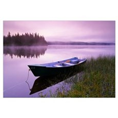 Boat In Mist At Dawn, Rimouski Lake, Quebec, Canad Framed Print