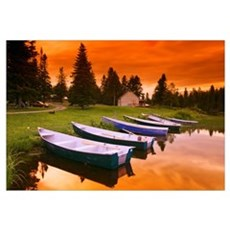 Boats And Cottage At Dusk, Rimouski Lake, Quebec,  Framed Print