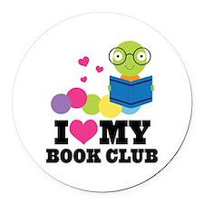 Book Club Bookworm Round Car Magnet