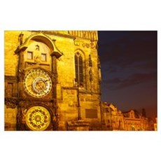 Night Lights Of The Astronomical Clock, The Old To Poster