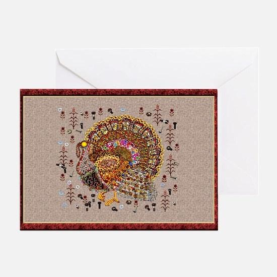 Metal Thanksgiving Turkey Greeting Card