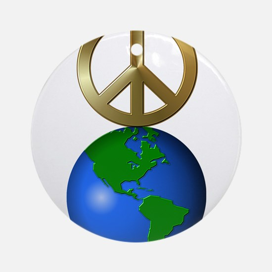Peace on Earth Word Puzzle Version Round Ornament