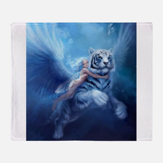 Funny White tigers Throw Blanket