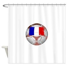 France Soccer Ball Shower Curtain