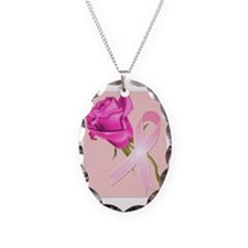 Cute Breast cancer Necklace Oval Charm