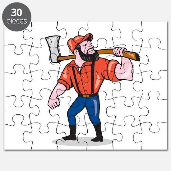 LumberJack Holding Axe Cartoon Puzzle