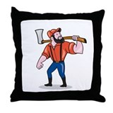 Lumberjack arborist holding axe shield Cotton Pillows