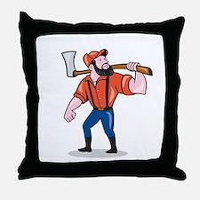 LumberJack Holding Axe Cartoon Throw Pillow
