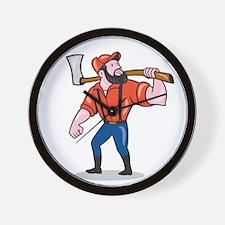 LumberJack Holding Axe Cartoon Wall Clock