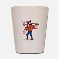 LumberJack Holding Axe Cartoon Shot Glass