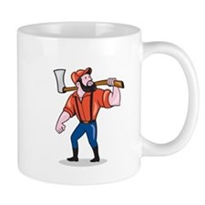 LumberJack Holding Axe Cartoon Mugs