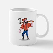 LumberJack Holding Axe Cartoon Mugs