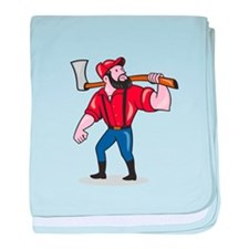 LumberJack Holding Axe Cartoon baby blanket