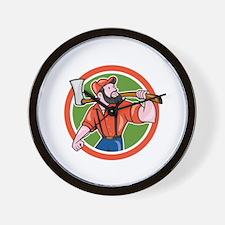 LumberJack Holding Axe Circle Cartoon Wall Clock