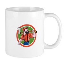 LumberJack Holding Axe Circle Cartoon Mugs