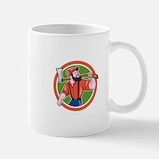 LumberJack Holding Axe Circle Cartoon Mugs