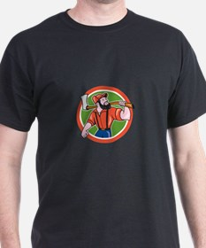 LumberJack Holding Axe Circle Cartoon T-Shirt