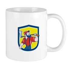 LumberJack Holding Axe Shield Cartoon Mugs