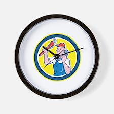 Plumber Monkey Wrench Telephone Circle Cartoon Wal
