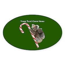 Aussie Koala Christmas Candy Cane P Decal