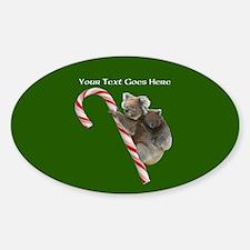 Aussie Koala Christmas Candy Cane P Sticker (Oval)