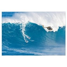 Hawaii, Maui, Peahi, Two Surfers Ride A Giant Wave Framed Print