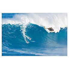 Hawaii, Maui, Peahi, Two Surfers Ride A Giant Wave Poster