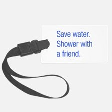 save water shower-with-friend-hel-blue Luggage Tag