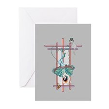 tarot hanged woman Greeting Cards