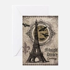 Modern vintage Halloween Eiffel Tower Greeting Car