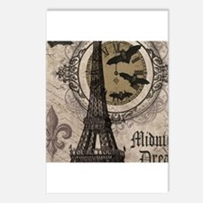 Modern vintage Halloween Eiffel Tower Postcards (P