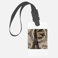 Modern vintage Halloween Eiffel Tower Luggage Tag