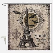 Modern vintage Halloween Eiffel Tower Shower Curta