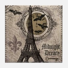 Modern vintage Halloween Eiffel Tower Tile Coaster