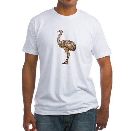 ostriches are large land birds which are primarily flightless due to thier large bodies and small wings - they are known to dig into the ground to find food appearing to bury their head in the sand