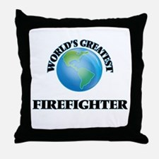 Funny World%27s greatest firefighter Throw Pillow