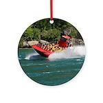 Jet Boat Making Wake Ornament (Round)