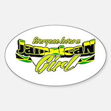 Jamaican girl Oval Decal