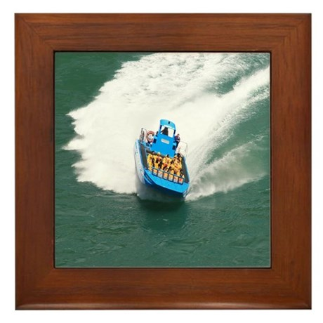 Blue Jet Boat Framed Tile