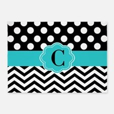 Black Teal Dots Chevron Personalized 5'x7'Area Rug