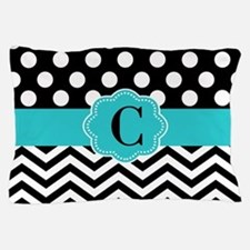Black Teal Dots Chevron Personalized Pillow Case