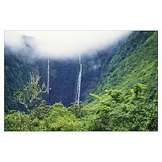 Hawaii, Big Island, Waipio Valley, Twin Waterfalls Poster