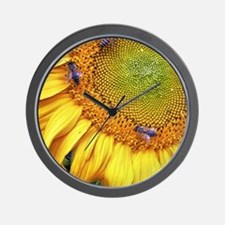 Bees on Sunflower Wall Clock