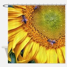 Bees on Sunflower Shower Curtain