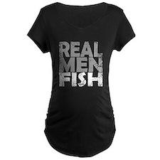 REAL MEN FISH WHITE Maternity T-Shirt