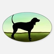 Coonhound In A Field Oval Decal