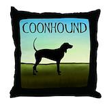 Blue tick coonhound Throw Pillows