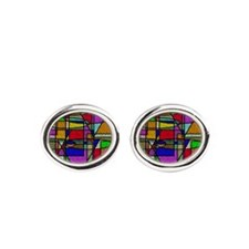 Abstract Stained Glass Oval Cufflinks