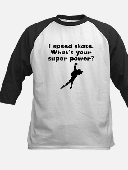 I Speed Skate Super Power Baseball Jersey