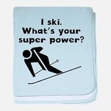 I Ski Super Power baby blanket